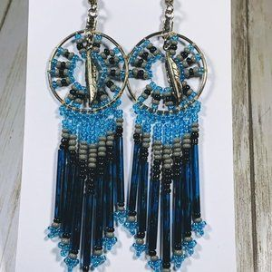 Vintage  Dream Catcher Blue Bead Pierced Earrings
